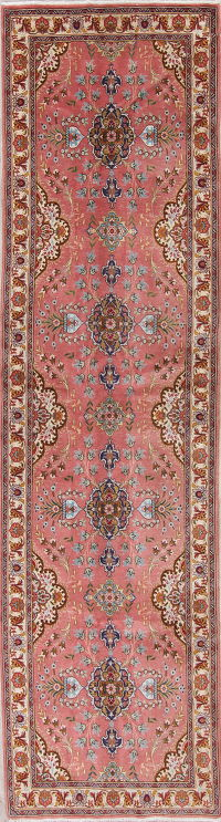 Floral Tabriz Persian Hand-Knotted 3X12 Wool Silk Runner Rug
