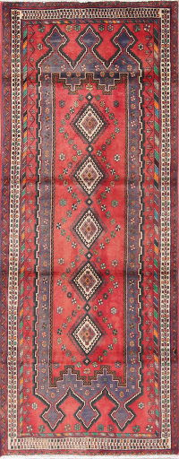 Geometric Red Sirjan Persian Hand-Knotted 3x8 Wool Runner Rug