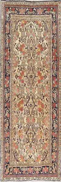 Geometric Bidjar Persian Hand-Knotted 3x8 Wool Runner Rug