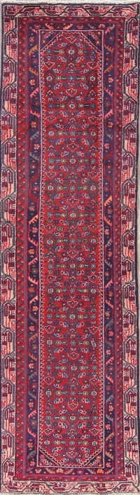 Geometric Red Malayer Persian Hand-Knotted 3x9 Wool Runner Rug