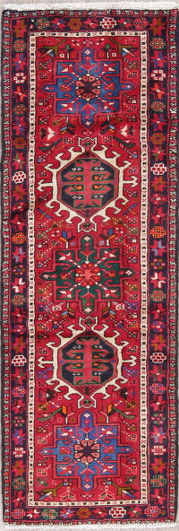 Geometric Red Gharajeh Persian Hand-Knotted 2x7 Wool Runner Rug