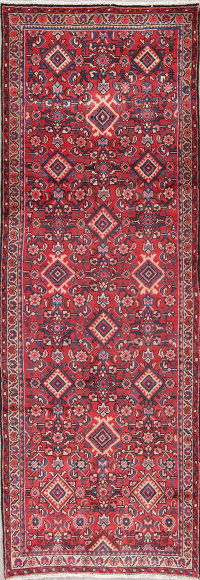 Geometric Red Mahal Persian Hand-Knotted 4x10 Wool Runner Rug