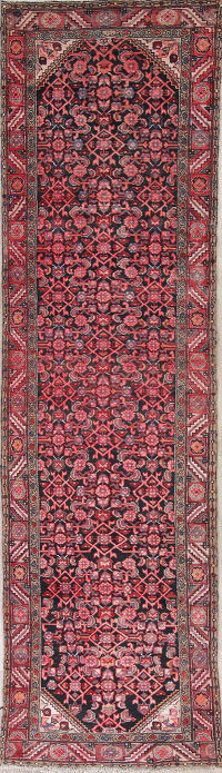 All-Over Red Hamedan Persian Hand-Knotted 3x13 Wool Runner Rug