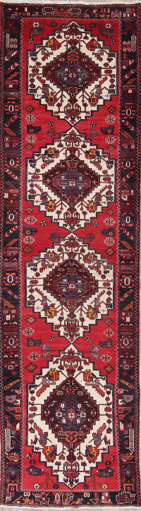 Geometric Red Bakhtiari Persian Hand-Knotted 4x13 Wool Runner Rug