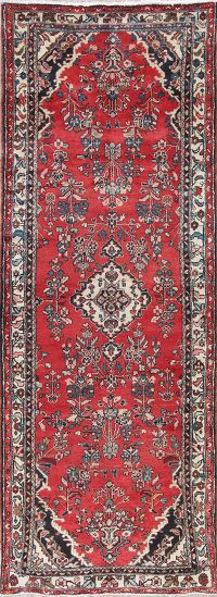 Floral Red Hamedan Persian Hand-Knotted 4x10 Wool Runner Rug