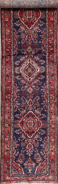 Floral Navy Blue Malayer Persian Hand-Knotted 4x14 Wool Runner Rug
