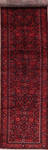 Geometric Red Hamedan Persian Hand-Knotted 4x14 Wool Runner Rug