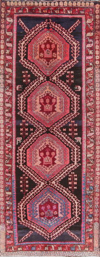 Pink Geometric Tribal Ardebil Persian Hand-Knotted 4x9 Wool Runner Rug