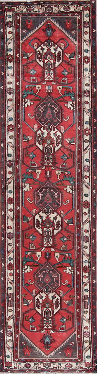 Geometric Red Malayer Persian Hand-Knotted 3x10 Wool Runner Rug