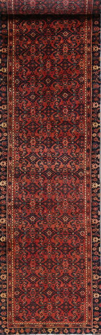 Geometric Red Hamedan Persian Hand-Knotted 3x13 Wool Runner Rug