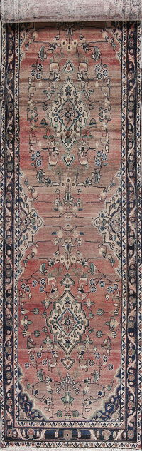 Antique Red Malayer Persian Hand-Knotted 4x17 Wool Runner Rug