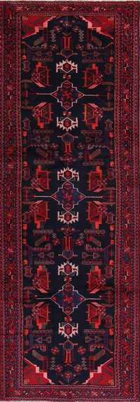 Geometric Black Bakhtiari Persian Hand-Knotted 4x10 Wool Runner Rug
