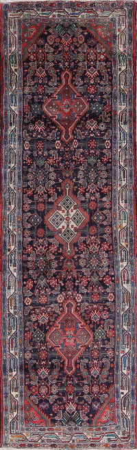 Geometric Hamedan Persian Hand-Knotted 4x11 Wool Runner Rug