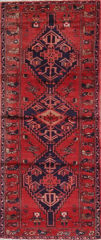 Geometric Red Bakhtiari Persian Hand-Knotted 3x7 Wool Runner Rug