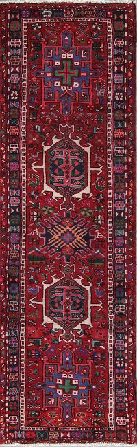 Tribal Geometric Gharajeh Persian Hand-Knotted 2x7 Wool Runner Rug