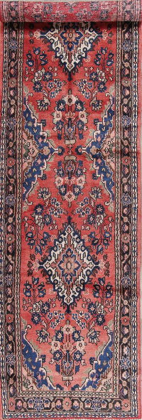 Floral Red Hamedan Persian Hand-Knotted 4x13 Wool Runner Rug
