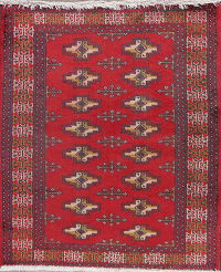 Geometric Red Turkoman Persian Hand-Knotted 2x2 Wool Square Rug