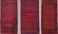Set Of Three Geometric Bokhara Persian Hand-Knotted 2x3 Wool Rugs