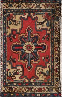 Geometric Red Heriz Persian Hand-Knotted 2x3 Wool Rug