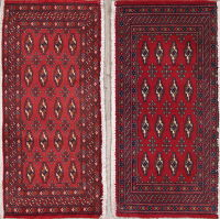 Set Of Two Geometric Bokhara Persian Hand-Knotted 2x4 Wool Rugs