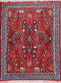 Floral Red Lilian Persian Hand-Knotted 2x2 Wool Square Rug
