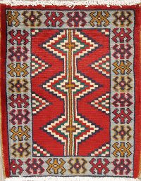 Geometric Red Hamedan Persian Hand-Knotted 2x2 Wool Square Rug