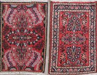 Set Of Two Floral Red Hamedan Persian Hand-Knotted 1x2 Wool Rugs