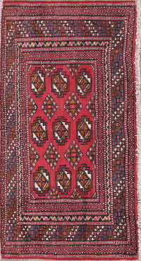 Geometric Red Bokhara Persian Hand-Knotted 2x3 Wool Rug