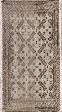 Geometric Brown Bokhara Pakistan Oriental Hand-Knotted 2x3 Wool Rug