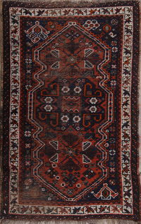Pre-1900 Antique Geometric Qashqai Persian Hand-Knotted 3x4 Wool Rug