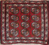 Geometric Red Balouch Persian Hand-Knotted 2x2 Wool Square Rug