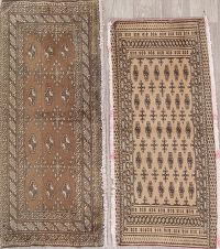 Set Of Two Geometric Bokhara Persian Hand-Knotted 2x4 Wool Rug