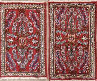 Set Of Two Floral Red Lilian Persian Hand-Knotted 2x3 Wool Rug