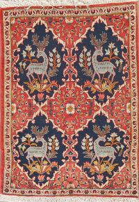 Animal Pictorial Floral Kashan Persian Hand-Knotted 2x3 Wool Rug