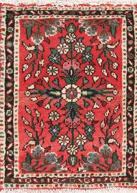 Floral Red Hamedan Persian Hand-Knotted 2x2 Wool Square Rug