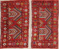 Set Of Two Geometric Bokhara Persian Hand-Knotted 2x3 Wool Rugs