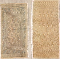 Set Of Two Geometric Hamedan Persian Hand-Knotted 2x3 Wool Rugs