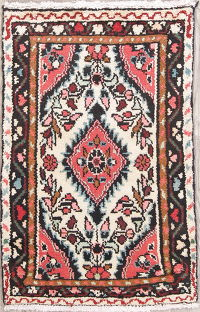 Floral Ivory Hamedan Persian Hand-Knotted 2x3 Wool Rug