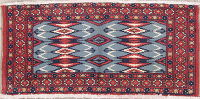 Geometric Blue Balouch Persian Hand-Knotted 2x3 Wool Rug