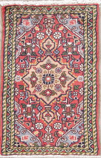 Floral Red Hamedan Persian Hand-Knotted 1x2 Wool Rug