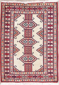 Geometric Ivory Balouch Persian Hand-Knotted 2x3 Wool Rug