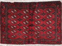 Geometric Red Turkoman Persian Hand-Knotted 2x3 Wool Rug