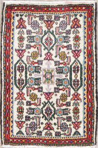 Geometric Ivory Malayer Persian Hand-Knotted 2x3 Wool Rug