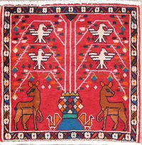 Animal Pictorial Shiraz Persian Hand-Knotted 2x2 Wool Square Rug