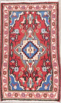 Geometric Red Hamedan Persian Hand-Knotted 2x3 Wool Rug