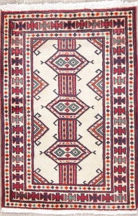 Geometric Ivory Bokhara Persian Hand-Knotted 2x3 Wool Rug