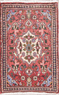 Floral Red Hamedan Persian Hand-Knotted 2x3 Wool Rug