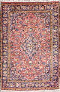 Traditional Floral Coral Kashan Persian Hand-Knotted 2x3 Wool Rug