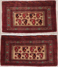 Set Of Two Geometric Balouch Persian Hand-Knotted 2x3 Wool Rugs