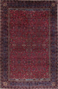 Pre-1900 Antique Floral Sultanabad Persian Hand-Knotted 12x18 Wool Rug